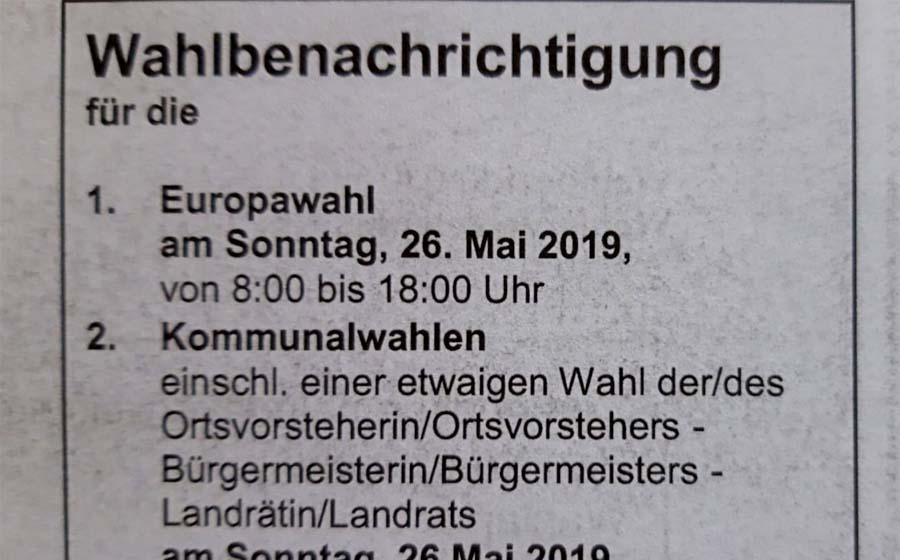 Kommunalwahl und Europawahl am 26. Mai 2019